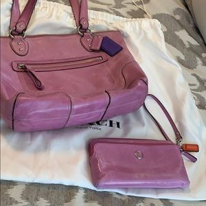 Pink leather coach bag with wristlet wallet